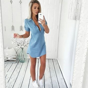 Denim Loose Short Dress