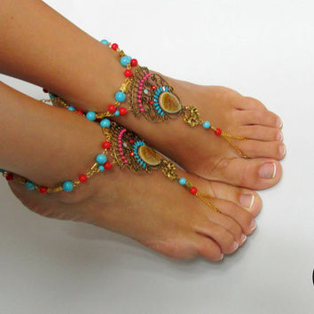 READY TO SHIP Barefoot Sandals Coral, Anklets, Beach Jewelry, Foot Jewelry, Yoga Wedding