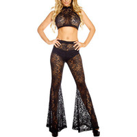 Fashion Hollow Bandage Lace Sexy High Collar Neck Erotic Top Trousers Pants _ 12579