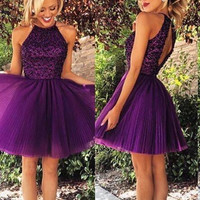 Round Neck Short Purple Prom Dresses, Homecoming Dresses