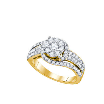 10kt Yellow Gold Womens Round Diamond Cluster Cocktail Ring 7/8 Cttw 74331