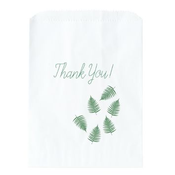 Thank You Green Fern Pattern Favor Bag