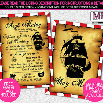 Vintage Pirate Invitations, Pirate Invitations, Pirate Invitation, Pirate Party Invitations, Printed Pirate Invitations, Invitations, Invite