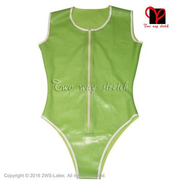 Sleeveless Zip at Front Latex Swimsuit Rubber Catsuit high cut leg Gummi Jumpsuit Unitard Sexy Latex leotard TC-024