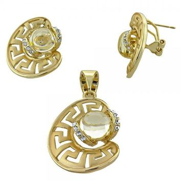 Gold Layered Earring and Pendant Adult Set, Greek Key and Ball Design, with Pearl and Crystal, Gold Tone