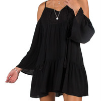 Boho Cold Shoulder Tunic Dress - Black - Black /