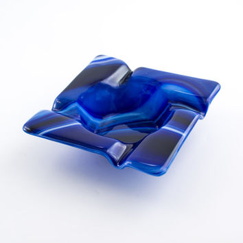 Cool Glass Ashtray, Cigar Ash Tray, Smoking Accessories, Square Design, Cigarette Tray, Blue Swirl Fused Glass, Unique Gifts for Men