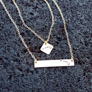 Hawaiian Islands Small Square Stamped Necklace, Sterling Silver, 14K Gold Filled, Hawaii Necklace Engraved. Big Island, Oahu, Maui, Kauai