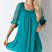 Entro Teal Solid Dress with Lace Trim and Ruffle