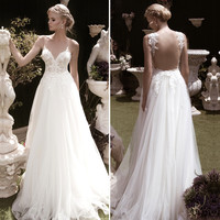 Luxury Sheer Wedding Dresses 2016 Beaded Lace Deep V Neck Women Unique Wedding Dress Beach Backless Sexy Wedding Gowns WD40