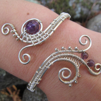 Amethyst Sterling Silver Triple Spiral Bracelet- Purple Beaded Wire Wrapped Coil Cuff Bangle- Handmade Gemstone Goddess Wedding Jewelry