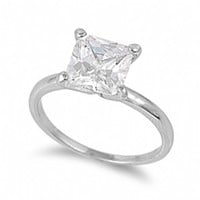 Marian's Simple Princess Cut CZ Sterling Silver Engagement Ring