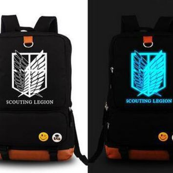 Anime Backpack School Fashion kawaii cute Attack on Titan Scout Legion Military Police Cos Printing School Bags Rucksack Canvas men Backpack women Mochila AT_60_4