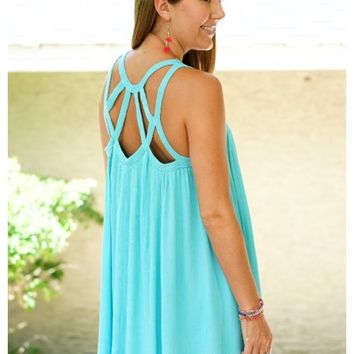 Turquoise dress with crisscross hemp strap detail | Sami | escloset.com