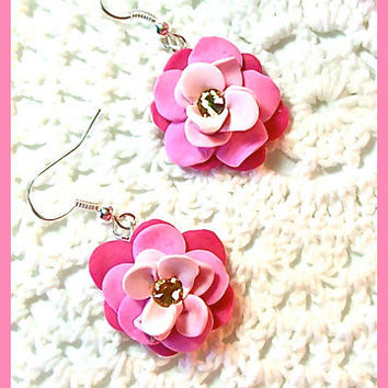 Flower Petal Earrings Polymer Clay Flower Blossoms Swarovski Crystals Dangle Earrings Handcrafted 3 shades of pink