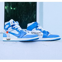 NIKE AIR JORDAN 1 & Off White Fashion New Hook Women Men High Top Sports Leisure Contrast Color Shoes