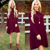 Randi Shift Dress - Burgundy