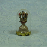 Dollhouse Miniature Jeweled Crown Under Glass Dome