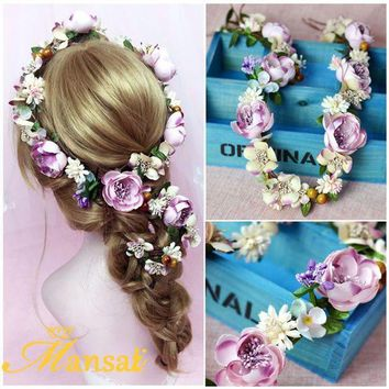 CREYIJ6 Baroque Flower Crown Bridal Hair Ornament Bohemian Rose Headbands Girls Flower Wreath Hair Jewelry Christmas Hair Wreath SG223