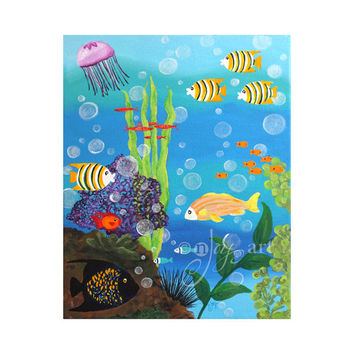 Happy Fish #4, 16x20 PRINT, Whimsical wall art for home, office or kids rooms.