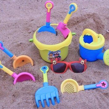 9pcs Kids Seaside Beach Sand Play Water Toy Tools With Spade Shovel Sunglasses