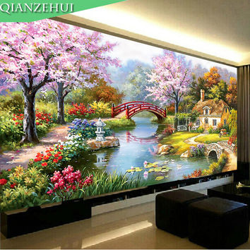 QIANZEHUI,Needlework,DIY landscape cross stitch, European oil painting Garden cabin,Sets For Embroidery kit ,Wall Home Decro
