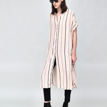 SHORT SLEEVE OVERSIZED STRIPED SHIRT DRESS BLUSH/BLACK