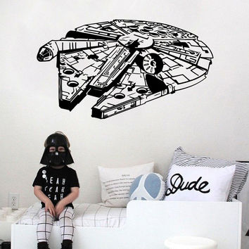 Star Wars Wall Sticker Vinyl Home Decor Decal 3D Millennium Falcon Fighter Murals Children Kids Teens Boys Room Bedroom Dorm