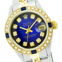Rolex Datejust 69173 Blue Vignette Diamond Sapphire Two Tone Watch