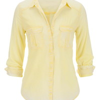 Custard Lightweight Button Down Boyfriend Shirt - Custard