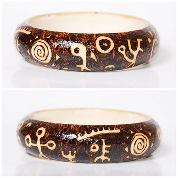 Tribal Shaman Wooden Bangle - Hippie Pyrography Bracelet - Wood Jewelry - Woodburning Brown Bracelet