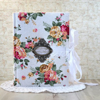 Women floral diary Flowers journal Roses notebook fabric cover Handmade white writing journal Handbound notebook Personal diary Gift to her