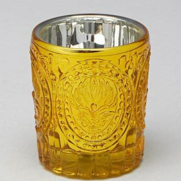 "Metallic Mercury Glass Votive Holder in Gold - 3.25"" Tall"