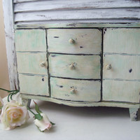 Shabby Chic Distressed Jewelry Box, Antique White Patina Jewelry Holder, Necklace Holder, Gift Ideas
