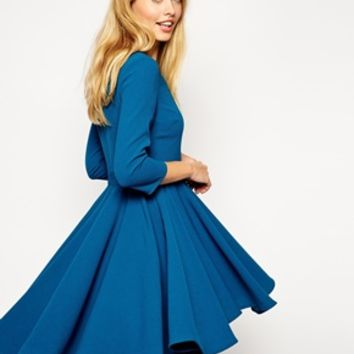 ASOS Skater Dress with Full Dipped Hem Skirt and 3/4 Sleeve