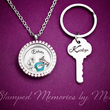 Key to My Heart - Hand Stamped Locket and Key Chain Set - His and Hers Matching Couple Jewelry - Personalized Living Locket with Charms