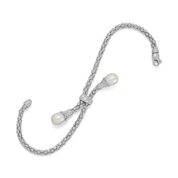 Rhodium Plated coreana and Cultured Freshwater Pearl End Bolo Bracelet