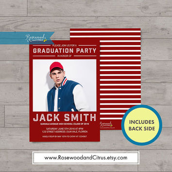 Varsity, College Graduation Party Invites, Photocard Graduation Invitation, Announcement, Red Blue or Green, Senior Graduation Printable