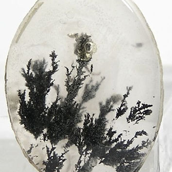 Black Dendritic Moss Agate Miniature Cabochon 7 ct