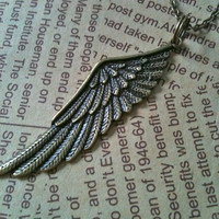 ANGEL wing charm necklace in antique bronze by Victorianstudio