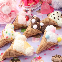 Kawaii Bear Ear Ice Cream Fuzzy Hair Clips