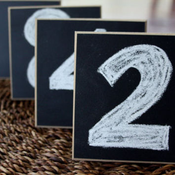 """Chalkboard Place Cards - Table Markers - 4""""x4"""" Square - Distressed Edges - Set of 4"""