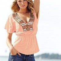 Sequin Flutter-sleeve Tunic