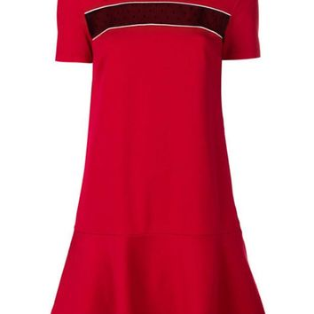 DCCKIN3 Red Valentino Mesh Panel T-shirt Dress