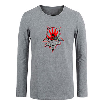 Five Finger Death Punch 5FDP Skull Men Cotton Long Sleeve Tops Tees for Boy Casual Clothing Anime cosplay family T shirt