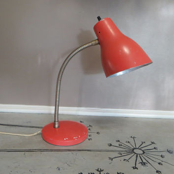 Gooseneck Lamp Desk Lamp Table Lamp Adjustable Lamp Task Lamp Orange Lamp Salmon Lamp Rustic Lamp Shabby Lamp Metal Lamp Industrial Lamp
