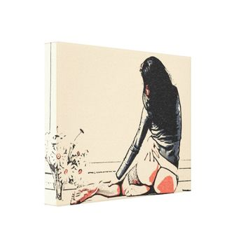 Sexy young girl with flowers artistic nude drawing canvas print