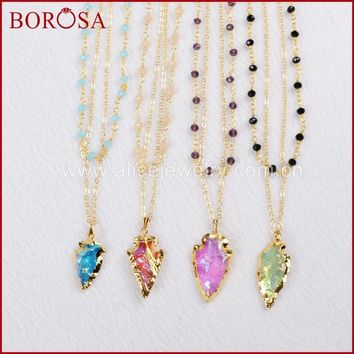 BOROSA Gold Color Rough Natural Titanium Quartz Arrowhead Layer Necklace with Mixed Colors Beads G760