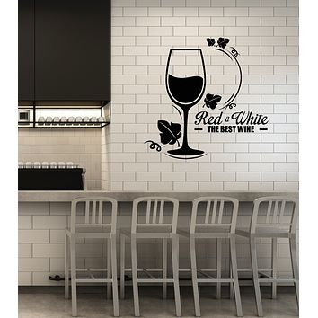 Vinyl Wall Decal Red White Wine Glass Grape Alcohol Bar Restaurant Stickers Mural (ig6003)