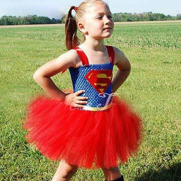 Girls Superhero Costume Child Superman Dress Hand-Knitted Crochet Tube Tops Tutu Dress Tulle Skirt Kids Halloween Costumes New